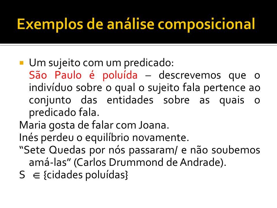Um sujeito com um predicado: São Paulo é poluída – descrevemos que o indivíduo sobre o qual o sujeito fala pertence ao conjunto das entidades sobre as