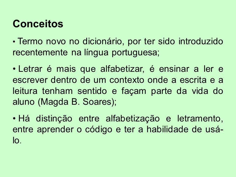 Conceitos Termo novo no dicionário, por ter sido introduzido recentemente na língua portuguesa; Letrar é mais que alfabetizar, é ensinar a ler e escrever dentro de um contexto onde a escrita e a leitura tenham sentido e façam parte da vida do aluno (Magda B.