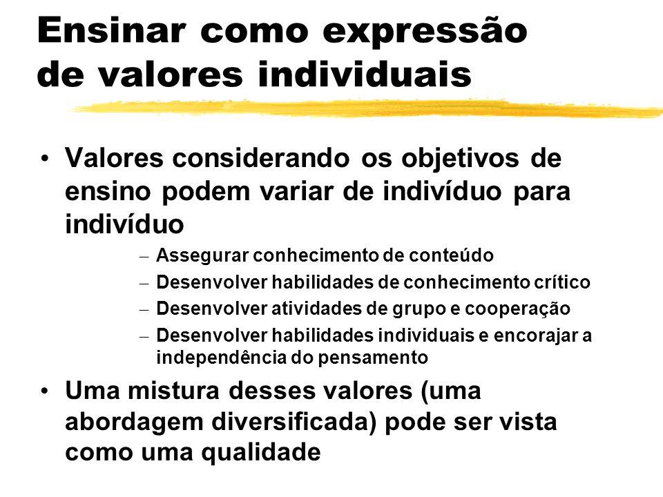 Ensinar como expressão de valores individuais Valores considerando os objetivos de ensino podem variar de indivíduo para indivíduo – Assegurar conheci