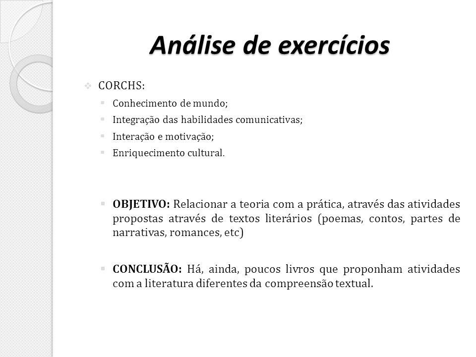 Análise de exercícios CORCHS: Conhecimento de mundo; Integração das habilidades comunicativas; Interação e motivação; Enriquecimento cultural. OBJETIV