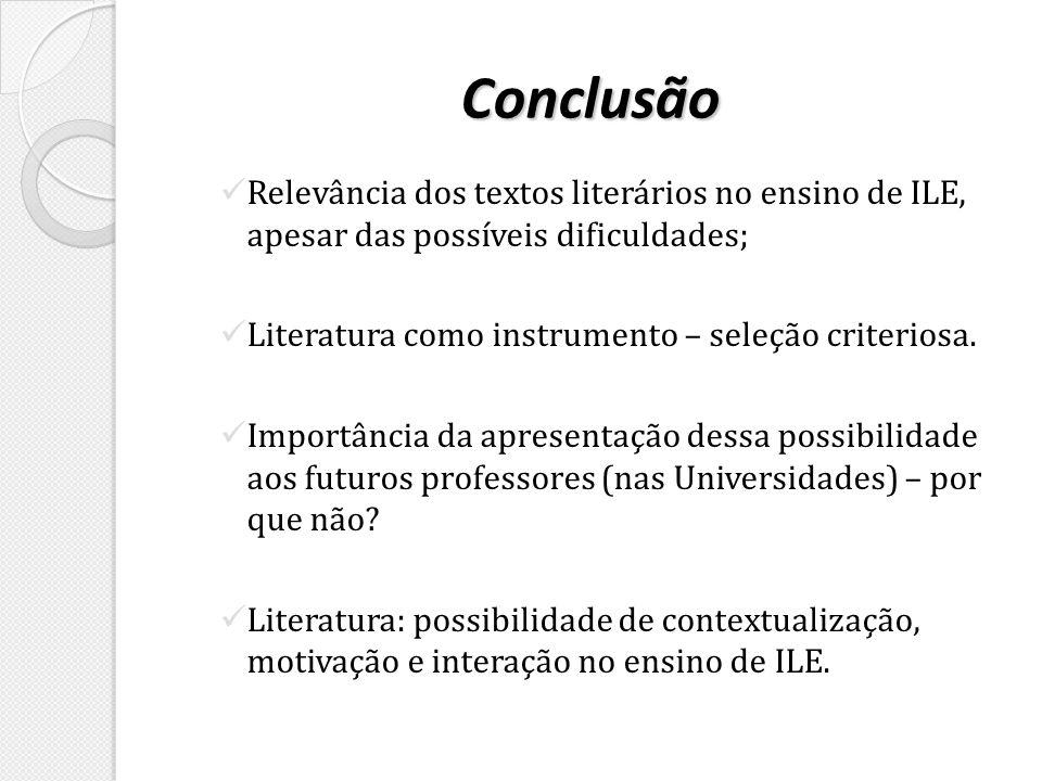 Conclusão Relevância dos textos literários no ensino de ILE, apesar das possíveis dificuldades; Literatura como instrumento – seleção criteriosa. Impo