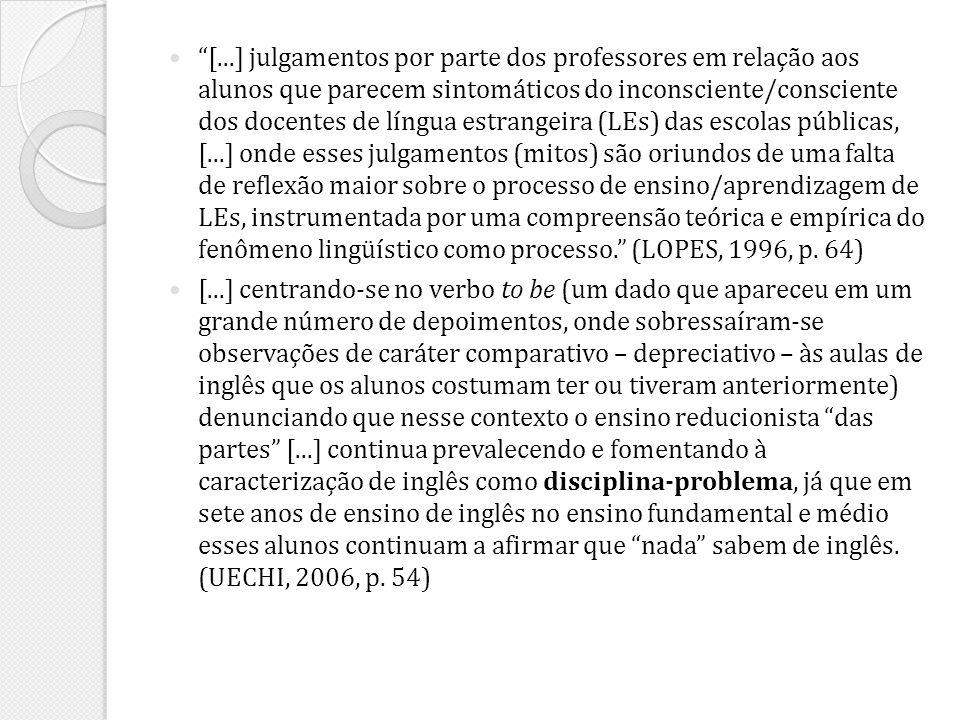 [...] julgamentos por parte dos professores em relação aos alunos que parecem sintomáticos do inconsciente/consciente dos docentes de língua estrangei