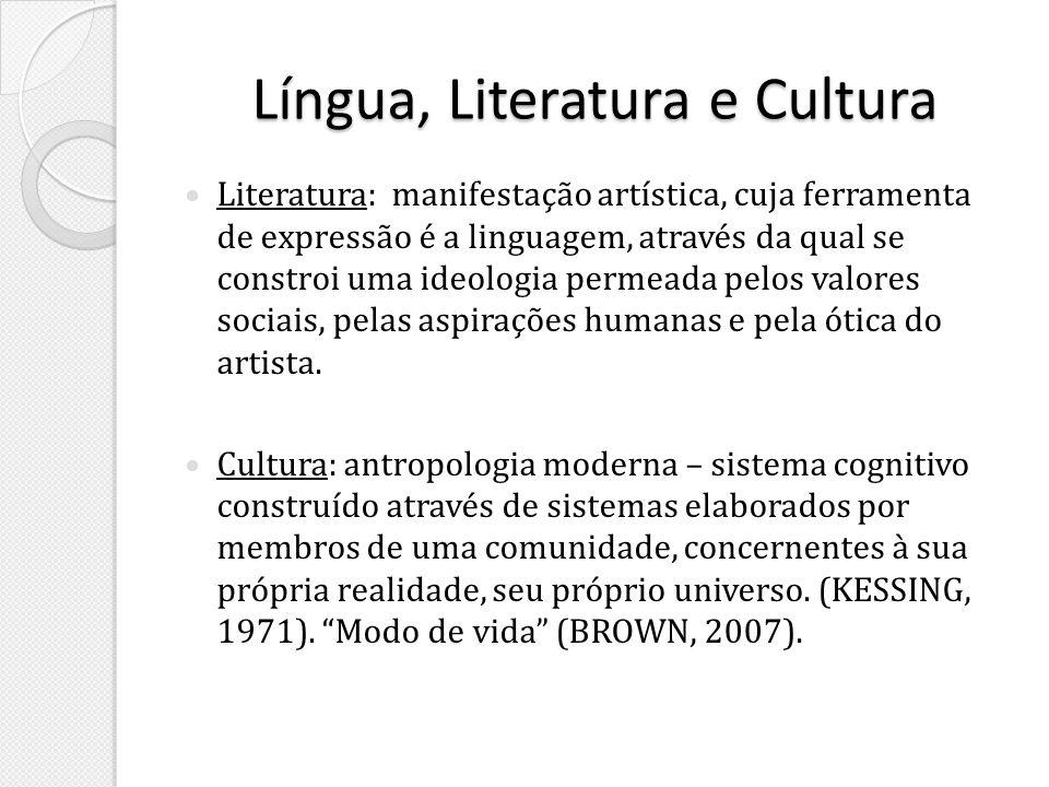 Língua, Literatura e Cultura Literatura: manifestação artística, cuja ferramenta de expressão é a linguagem, através da qual se constroi uma ideologia