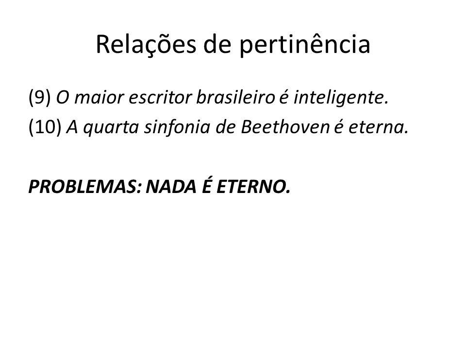 Relações de pertinência (9) O maior escritor brasileiro é inteligente. (10) A quarta sinfonia de Beethoven é eterna. PROBLEMAS: NADA É ETERNO.