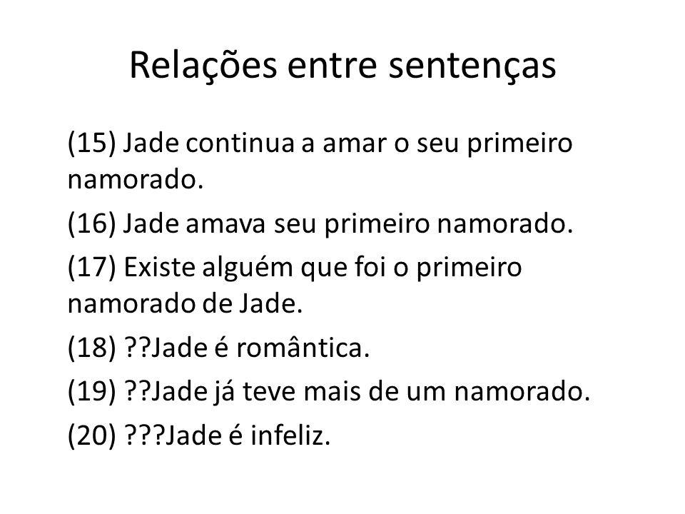 Relações entre sentenças (15) Jade continua a amar o seu primeiro namorado. (16) Jade amava seu primeiro namorado. (17) Existe alguém que foi o primei