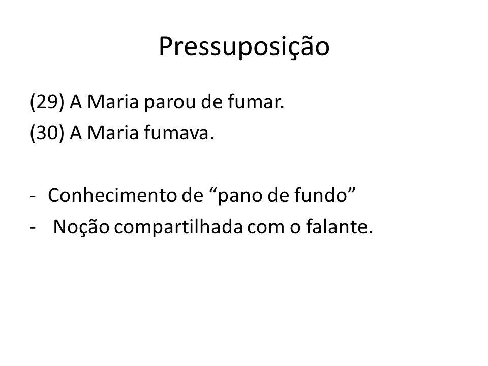 Pressuposição (29) A Maria parou de fumar. (30) A Maria fumava. -Conhecimento de pano de fundo - Noção compartilhada com o falante.