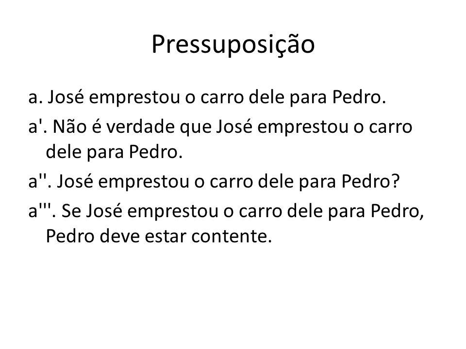 Pressuposição a. José emprestou o carro dele para Pedro. a'. Não é verdade que José emprestou o carro dele para Pedro. a''. José emprestou o carro del
