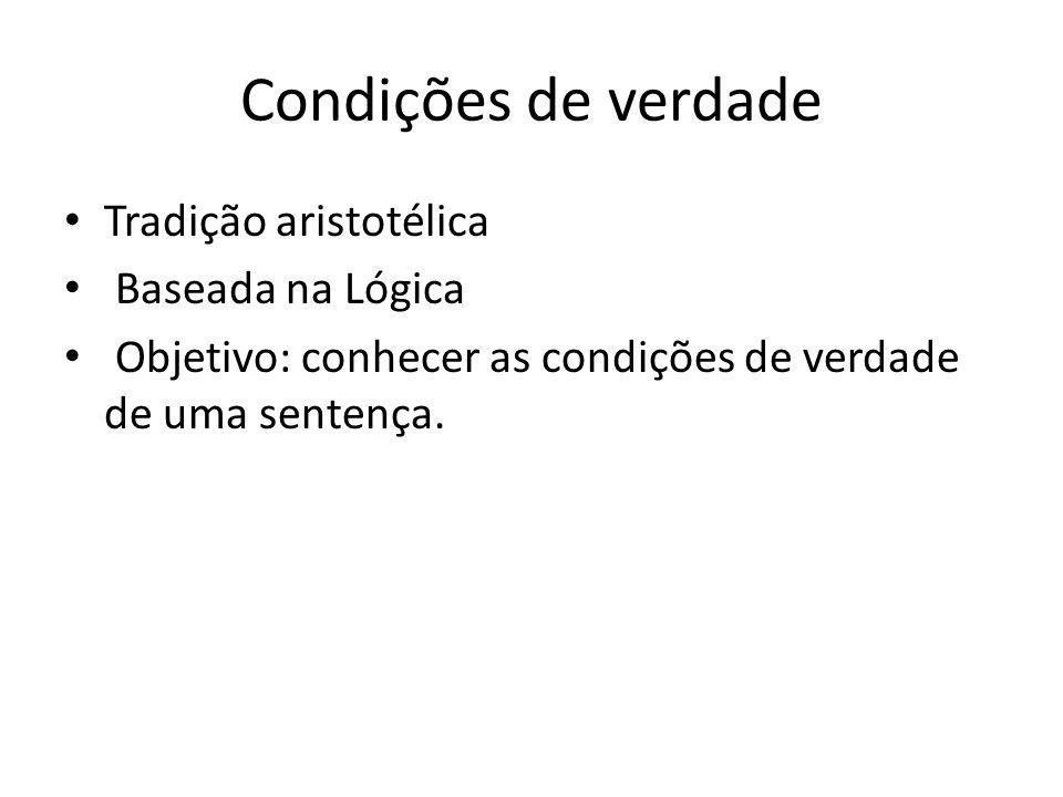Condições de verdade Tradição aristotélica Baseada na Lógica Objetivo: conhecer as condições de verdade de uma sentença.