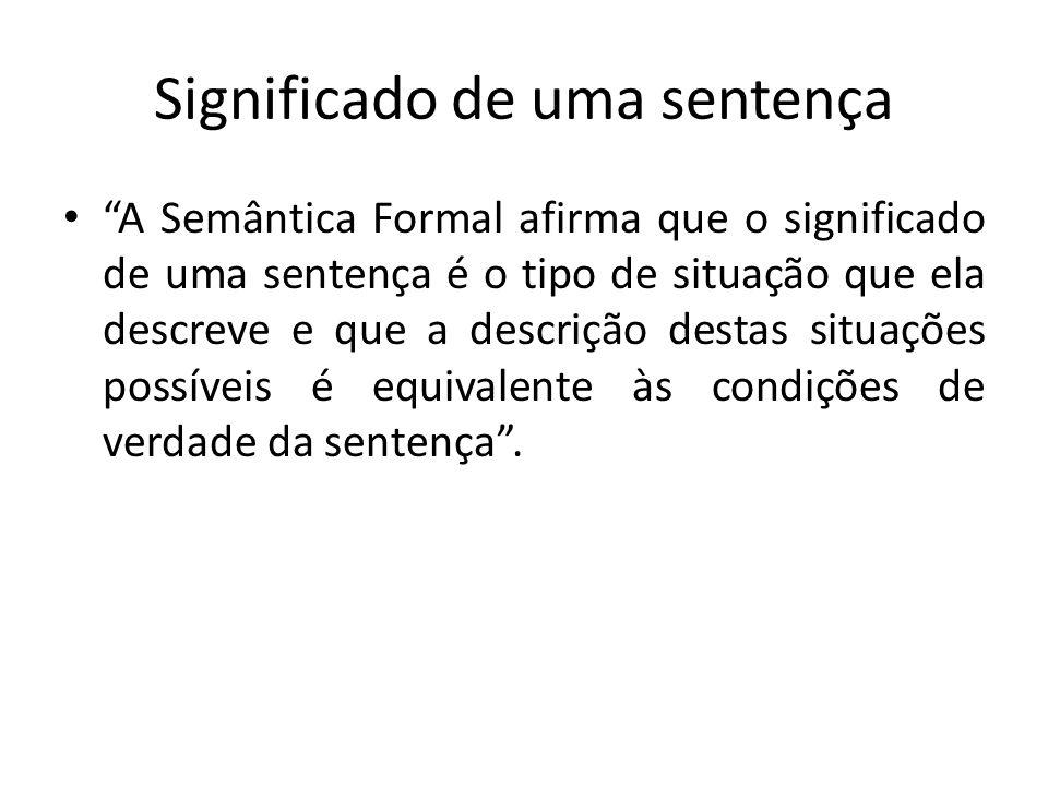 Significado de uma sentença A Semântica Formal afirma que o significado de uma sentença é o tipo de situação que ela descreve e que a descrição destas