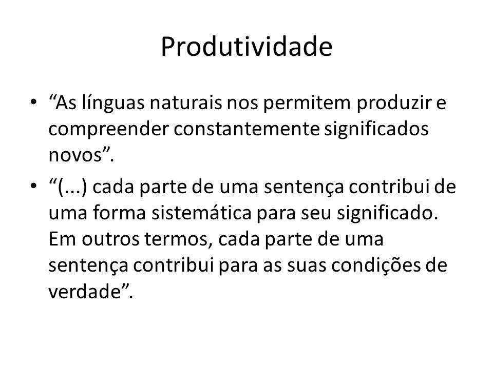 Produtividade As línguas naturais nos permitem produzir e compreender constantemente significados novos. (...) cada parte de uma sentença contribui de