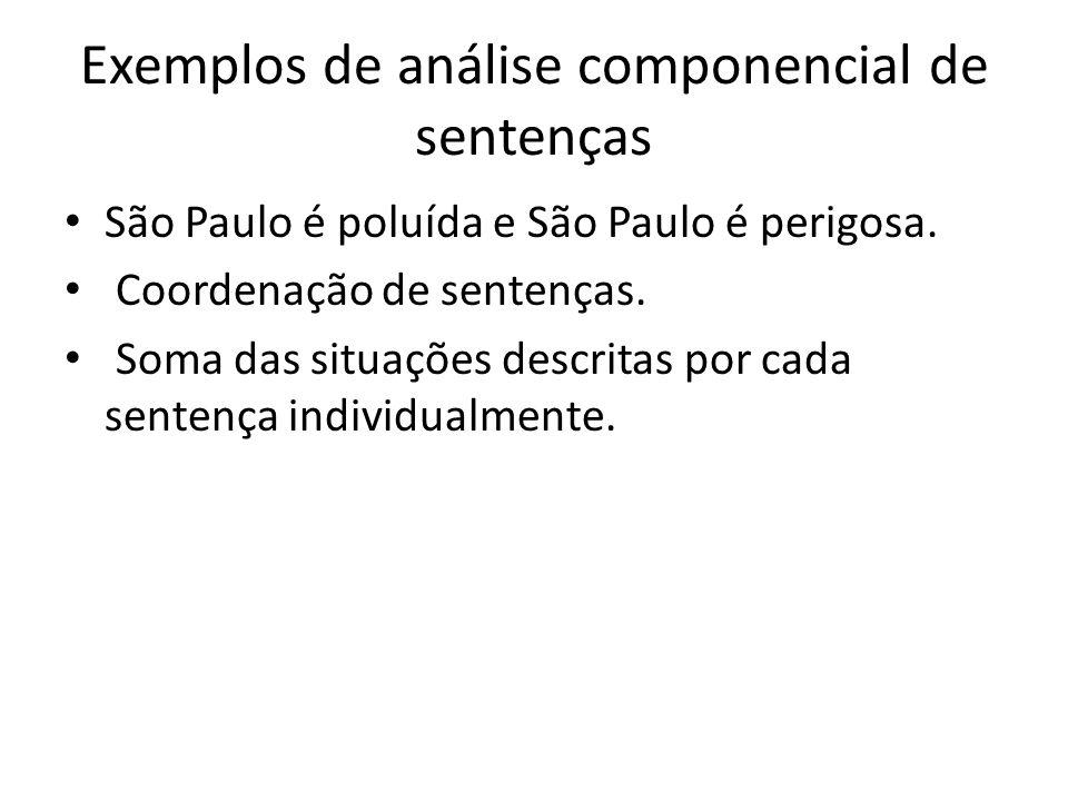 Exemplos de análise componencial de sentenças São Paulo é poluída e São Paulo é perigosa. Coordenação de sentenças. Soma das situações descritas por c