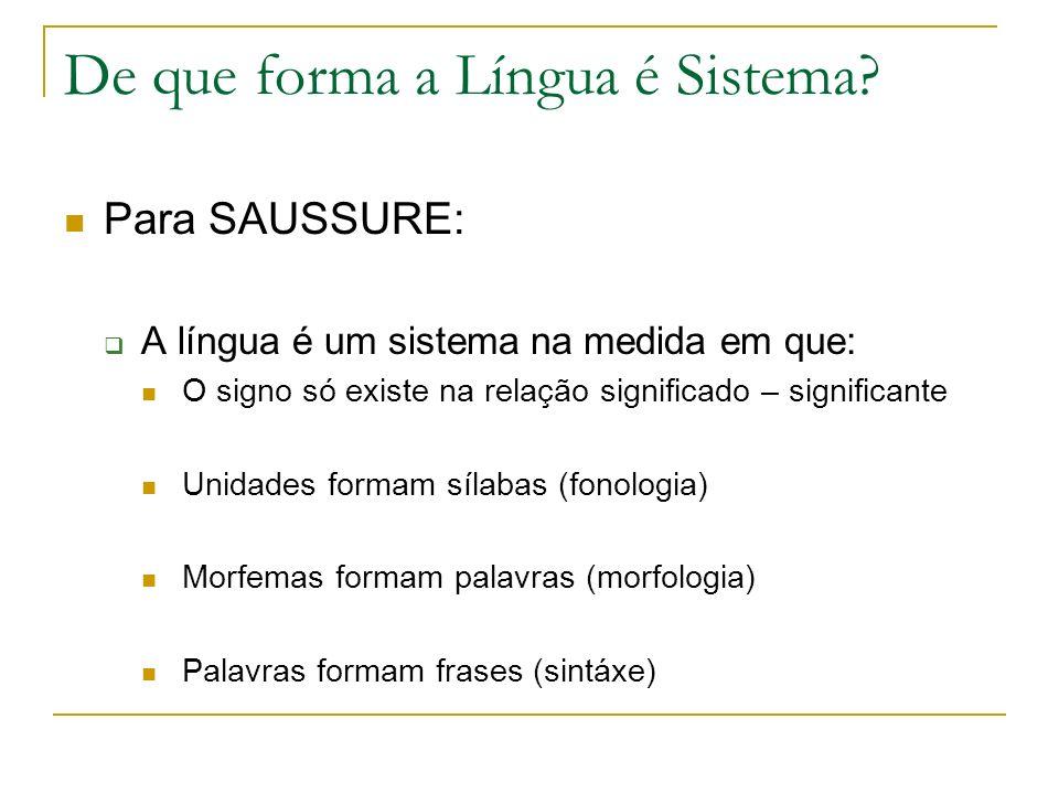 De que forma a Língua é Sistema? Para SAUSSURE: A língua é um sistema na medida em que: O signo só existe na relação significado – significante Unidad