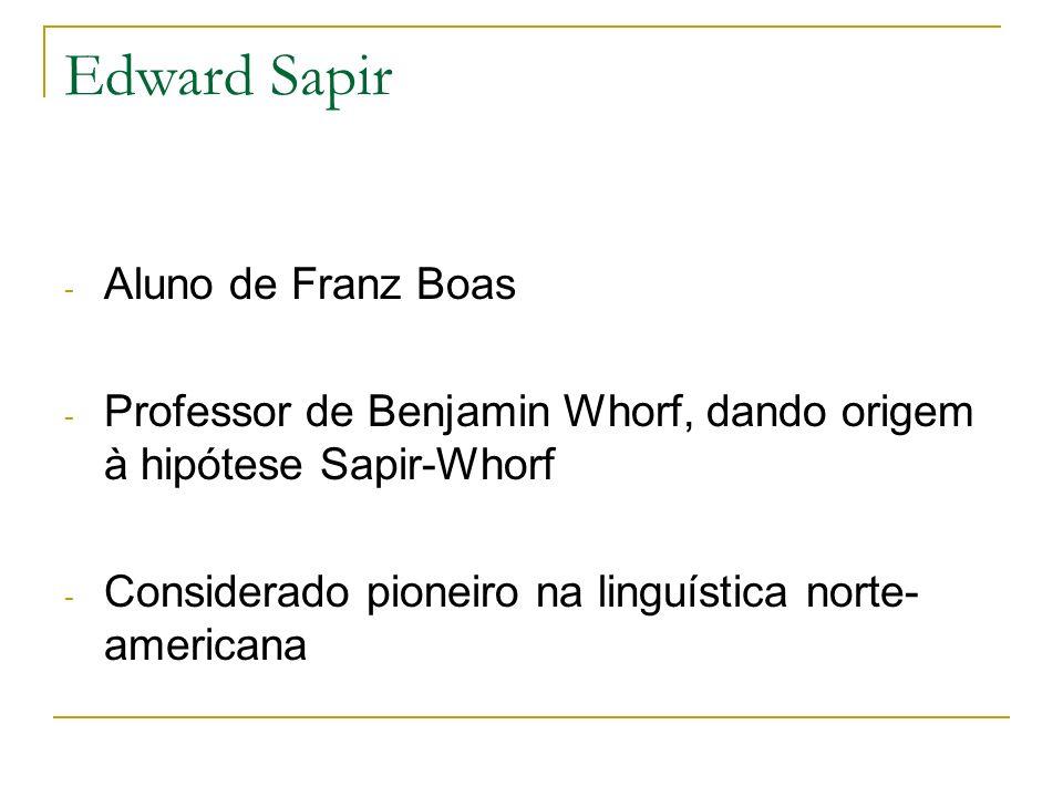 Edward Sapir - Aluno de Franz Boas - Professor de Benjamin Whorf, dando origem à hipótese Sapir-Whorf - Considerado pioneiro na linguística norte- ame