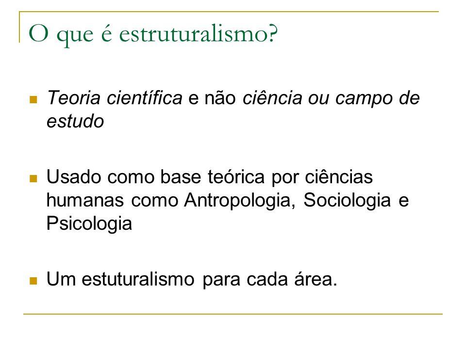 O que é estruturalismo? Teoria científica e não ciência ou campo de estudo Usado como base teórica por ciências humanas como Antropologia, Sociologia