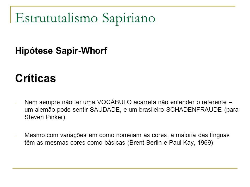 Estrututalismo Sapiriano Hipótese Sapir-Whorf Críticas - Nem sempre não ter uma VOCÁBULO acarreta não entender o referente – um alemão pode sentir SAU