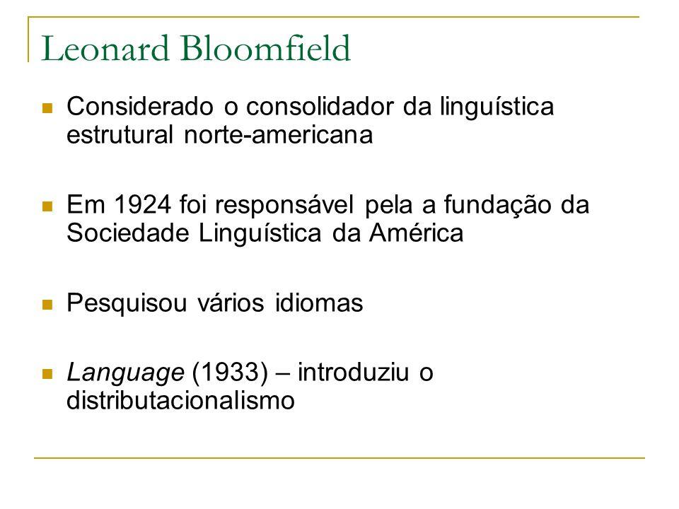 Leonard Bloomfield Considerado o consolidador da linguística estrutural norte-americana Em 1924 foi responsável pela a fundação da Sociedade Linguísti