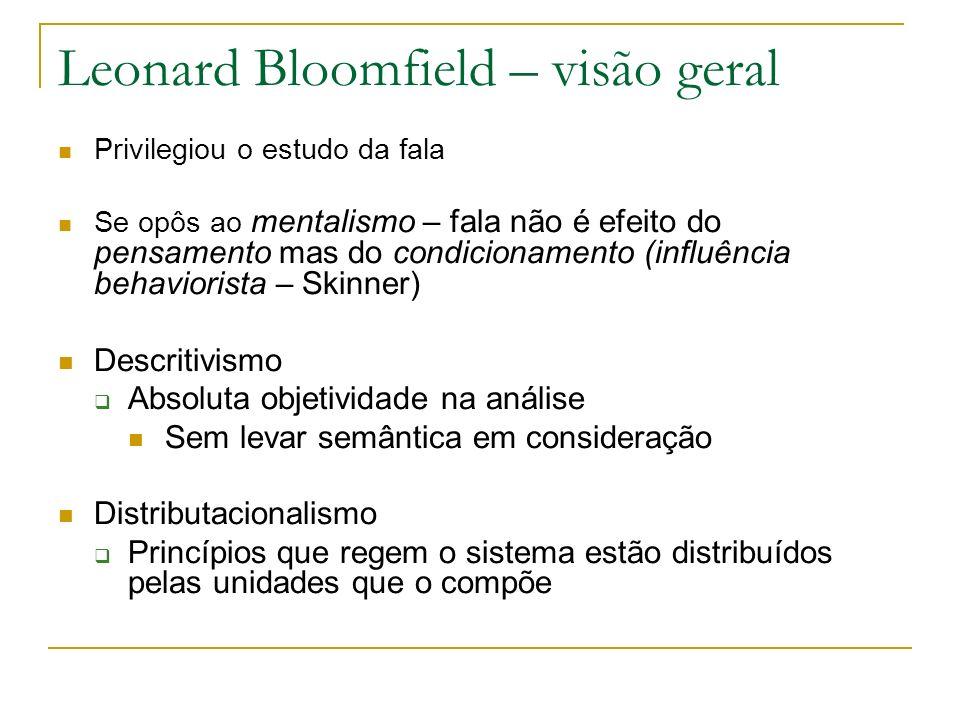 Leonard Bloomfield – visão geral Privilegiou o estudo da fala Se opôs ao mentalismo – fala não é efeito do pensamento mas do condicionamento (influênc