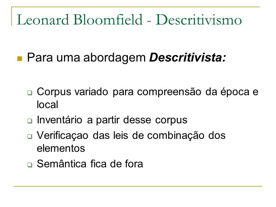 Leonard Bloomfield - Descritivismo Para uma abordagem Descritivista: Corpus variado para compreensão da época e local Inventário a partir desse corpus