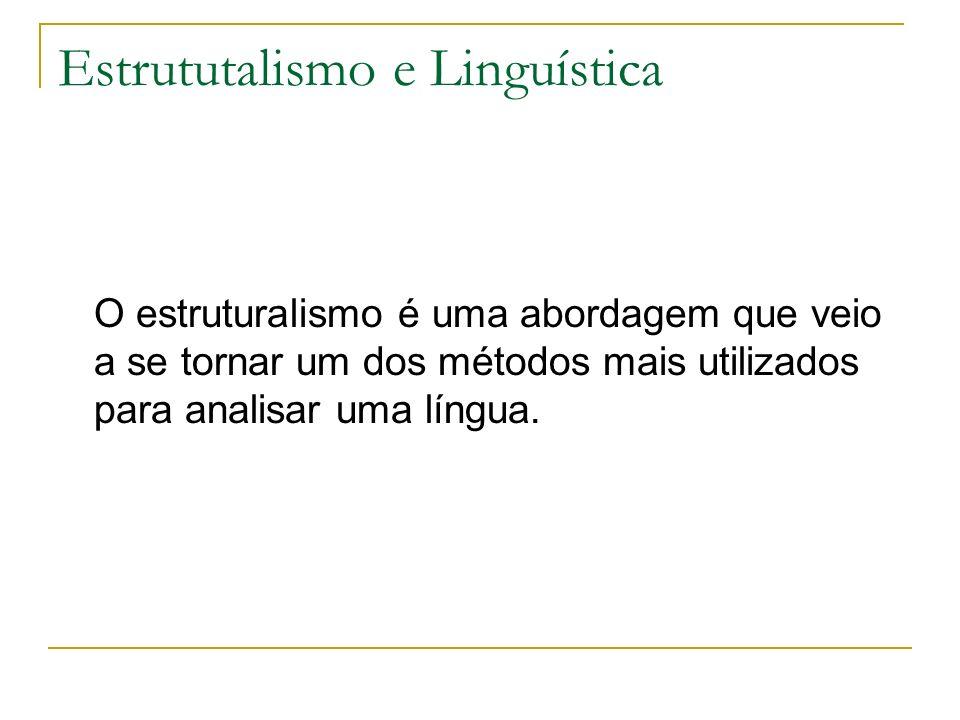 Estrututalismo e Linguística O estruturalismo é uma abordagem que veio a se tornar um dos métodos mais utilizados para analisar uma língua.