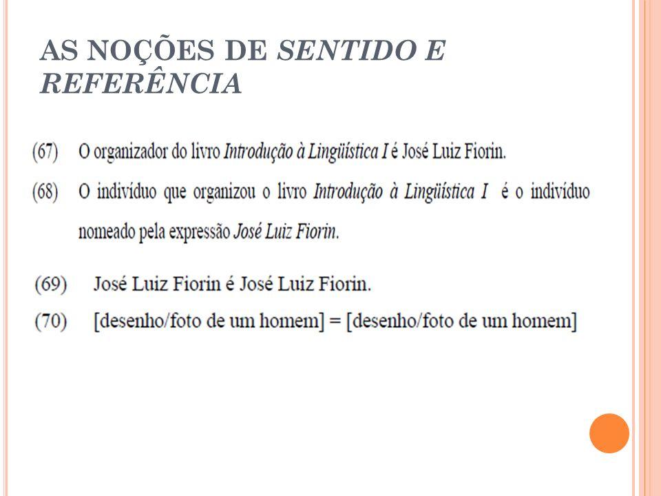 AS NOÇÕES DE SENTIDO E REFERÊNCIA
