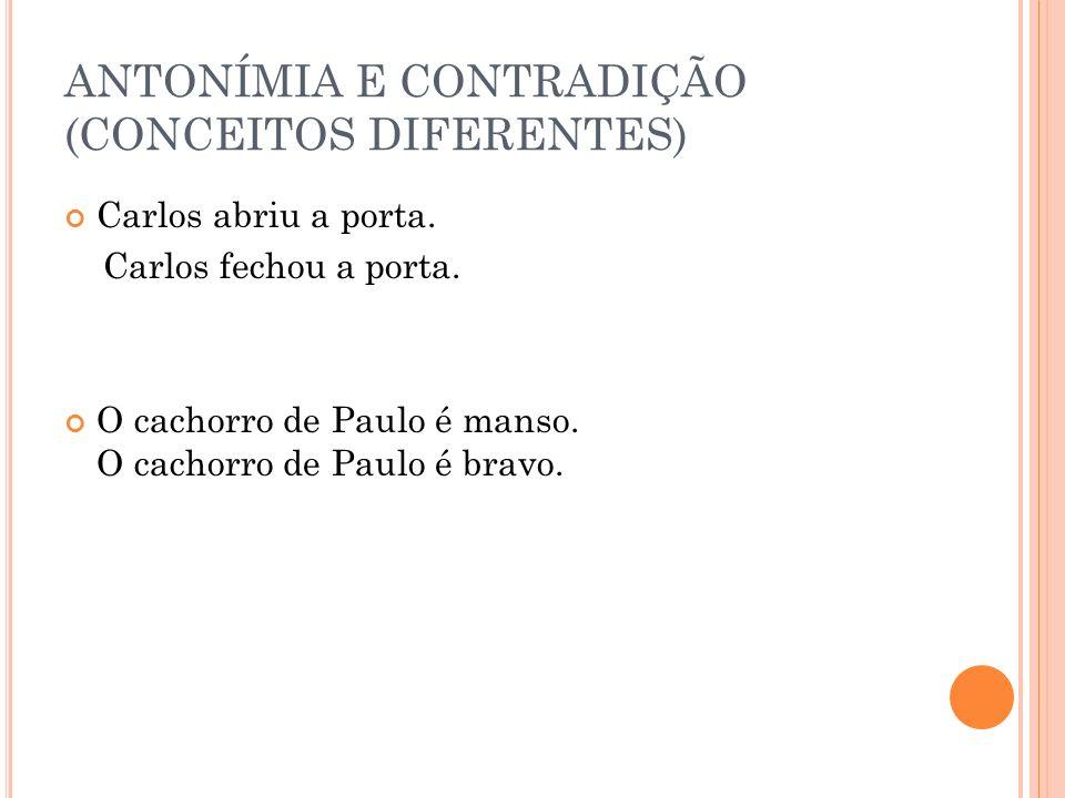 ANTONÍMIA E CONTRADIÇÃO (CONCEITOS DIFERENTES) Carlos abriu a porta. Carlos fechou a porta. O cachorro de Paulo é manso. O cachorro de Paulo é bravo.