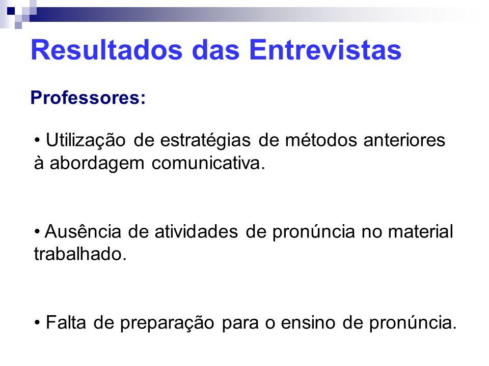 Resultados das Entrevistas Professores: Utilização de estratégias de métodos anteriores à abordagem comunicativa. Ausência de atividades de pronúncia