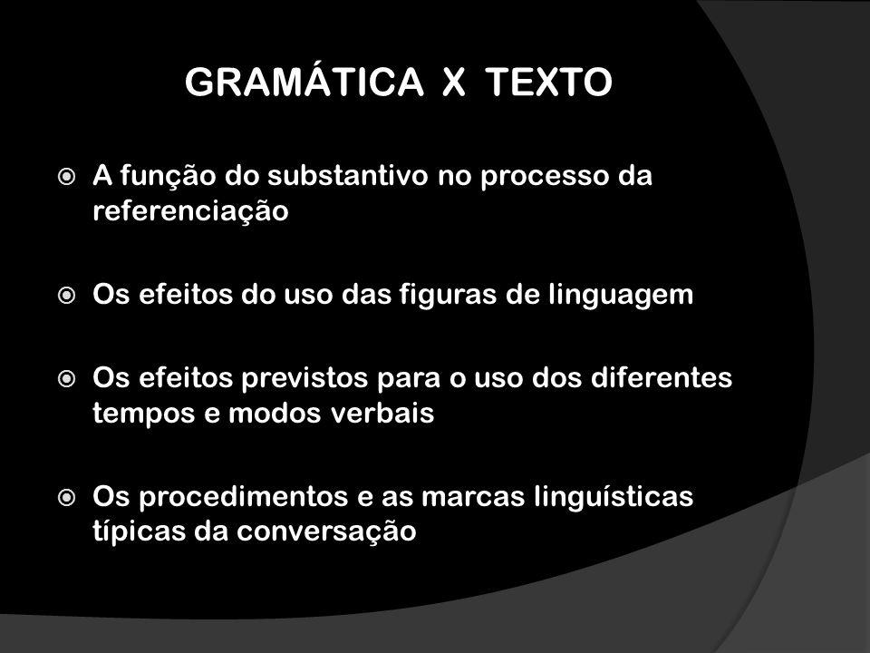GRAMÁTICA X TEXTO A função do substantivo no processo da referenciação Os efeitos do uso das figuras de linguagem Os efeitos previstos para o uso dos