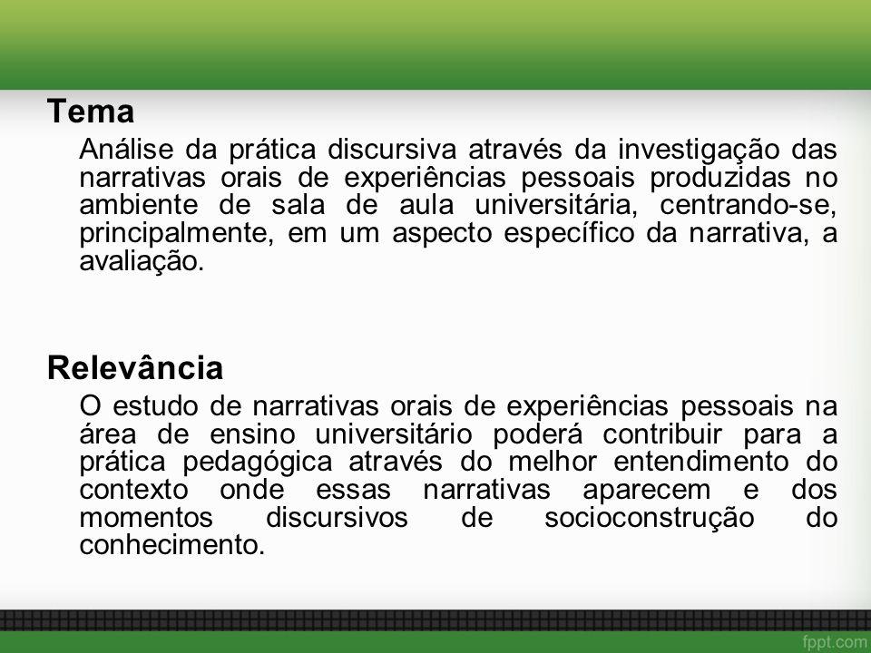 Tema Análise da prática discursiva através da investigação das narrativas orais de experiências pessoais produzidas no ambiente de sala de aula univer