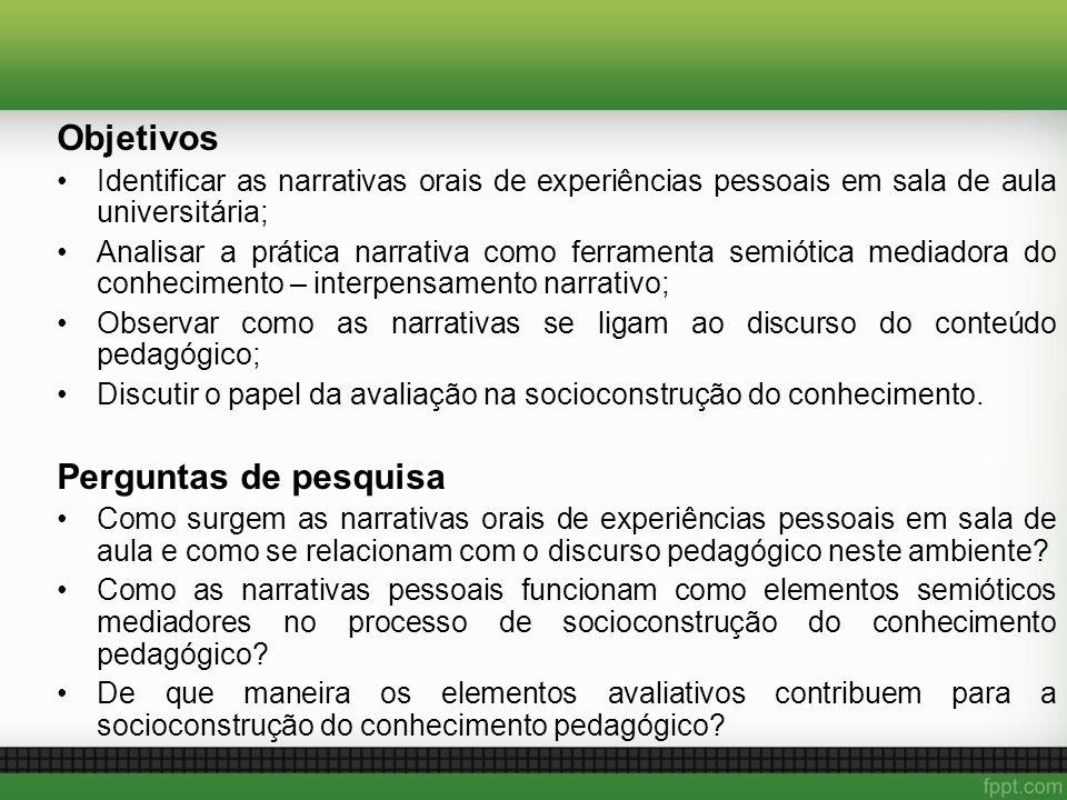 Objetivos Identificar as narrativas orais de experiências pessoais em sala de aula universitária; Analisar a prática narrativa como ferramenta semióti