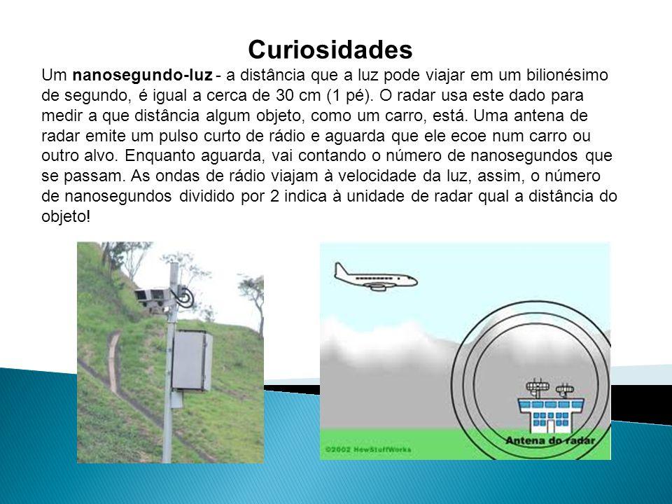 Curiosidades Um nanosegundo-luz - a distância que a luz pode viajar em um bilionésimo de segundo, é igual a cerca de 30 cm (1 pé). O radar usa este da