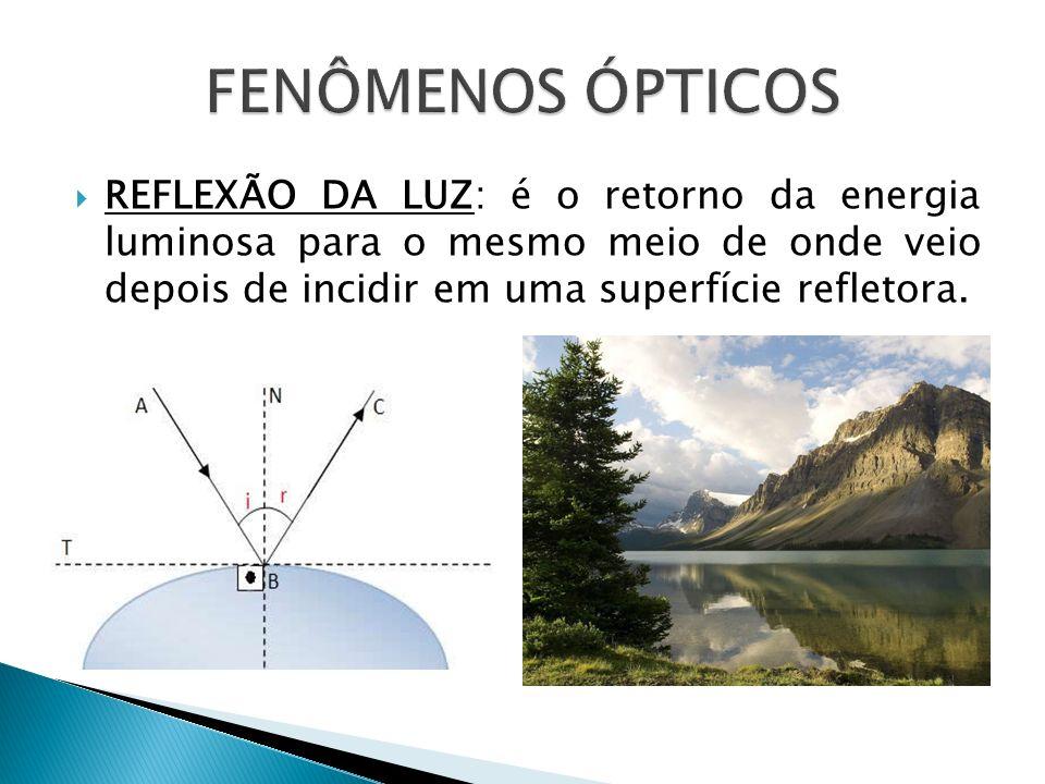 REFLEXÃO DA LUZ: é o retorno da energia luminosa para o mesmo meio de onde veio depois de incidir em uma superfície refletora.