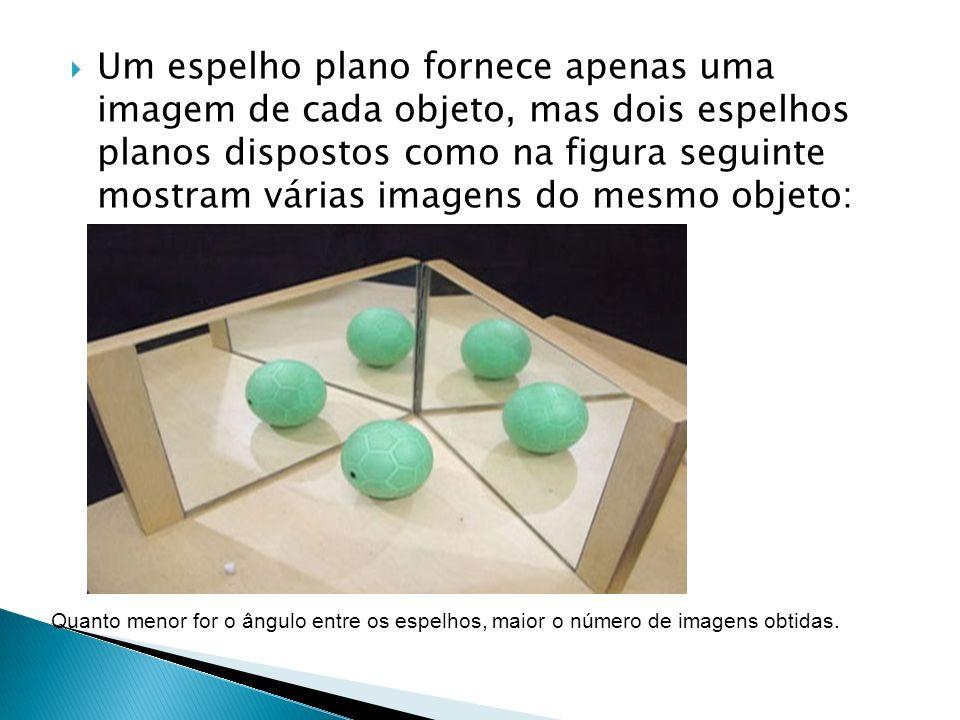 Um espelho plano fornece apenas uma imagem de cada objeto, mas dois espelhos planos dispostos como na figura seguinte mostram várias imagens do mesmo
