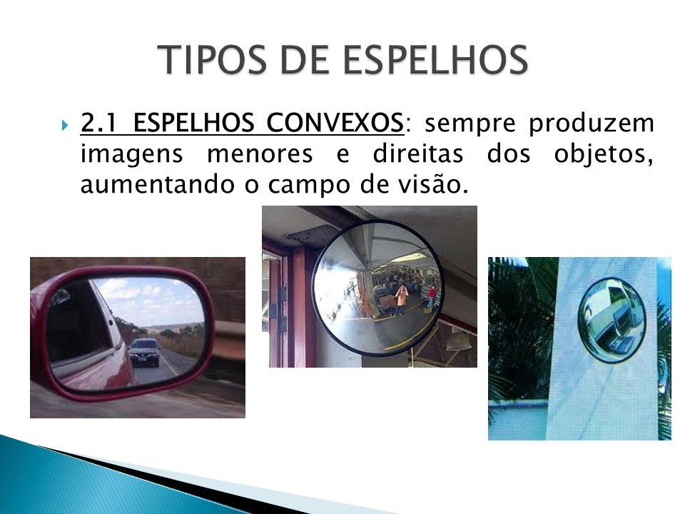 2.1 ESPELHOS CONVEXOS: sempre produzem imagens menores e direitas dos objetos, aumentando o campo de visão.