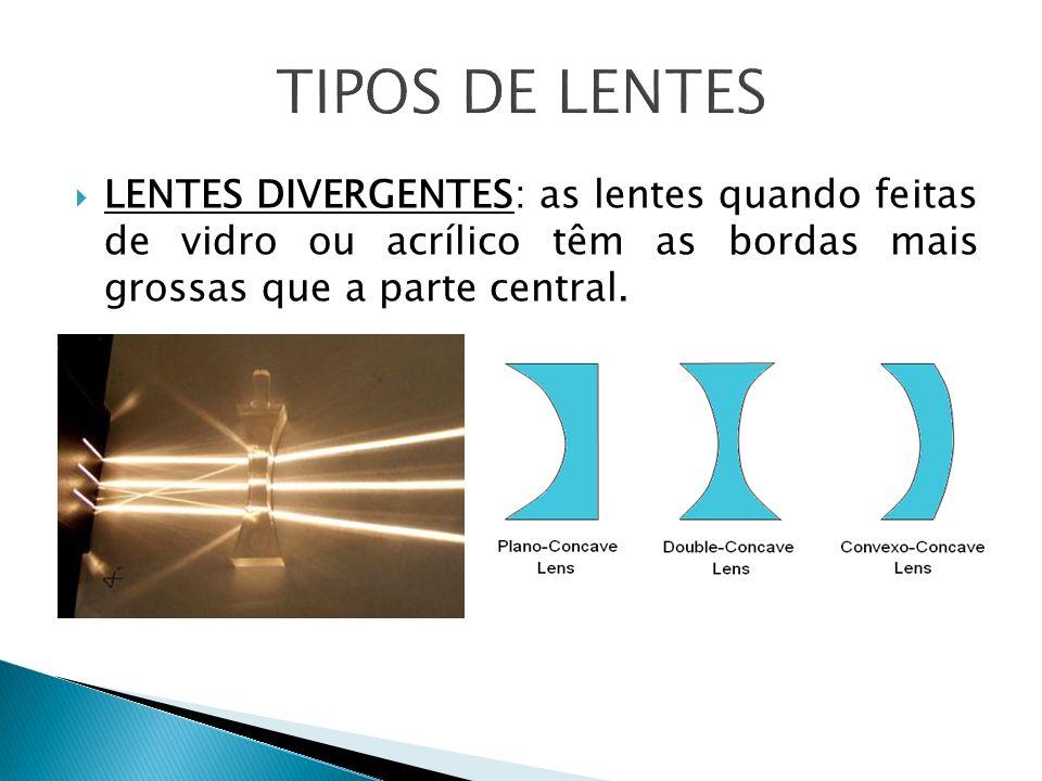 LENTES DIVERGENTES: as lentes quando feitas de vidro ou acrílico têm as bordas mais grossas que a parte central.