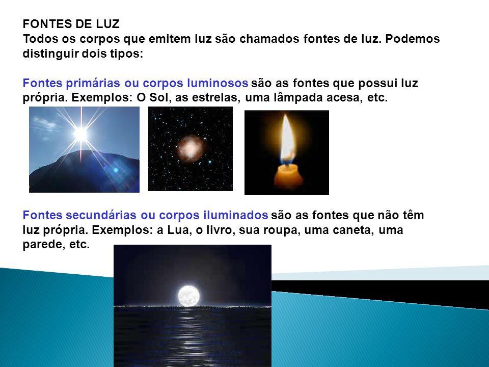 FONTES DE LUZ Todos os corpos que emitem luz são chamados fontes de luz. Podemos distinguir dois tipos: Fontes primárias ou corpos luminosos são as fo