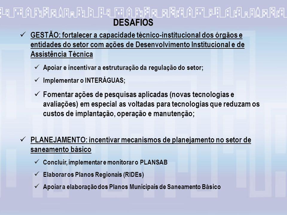 1969 – Instituição do Plano Nacional de Saneamento - Planasa O Planasa foi a primeira iniciativa do governo federal no setor.