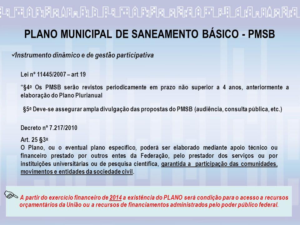 Lei nº 11445/2007 – art 19 §4 o Os PMSB serão revistos periodicamente em prazo não superior a 4 anos, anteriormente a elaboração do Plano Plurianual Instrumento dinâmico e de gestão participativa §5 o Deve-se assegurar ampla divulgação das propostas do PMSB (audiência, consulta pública, etc.) Art.