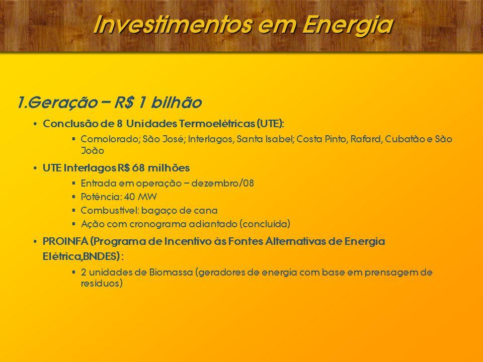 Investimentos em Energia 1. 1. Geração – R$ 1 bilhão Conclusão de 8 Unidades Termoelétricas (UTE): Comolorado; São José; Interlagos, Santa Isabel; Cos