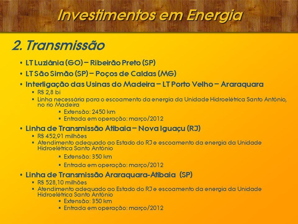 Investimentos em Energia 2. Transmissão LT Luziânia (GO) – Ribeirão Preto (SP) LT São Simão (SP) – Poços de Caldas (MG) Interligação das Usinas do Mad