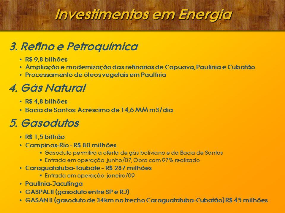 Investimentos em Energia 3. Refino e Petroquímica R$ 9,8 bilhões Ampliação e modernização das refinarias de Capuava, Paulínia e Cubatão Processamento
