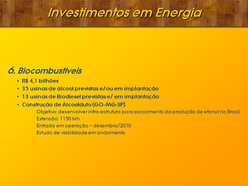 Investimentos em Energia 6. Biocombustíveis R$ 4,1 bilhões 35 usinas de álcool previstas e/ou em implantação 13 usinas de Biodiesel previstas e/ em im