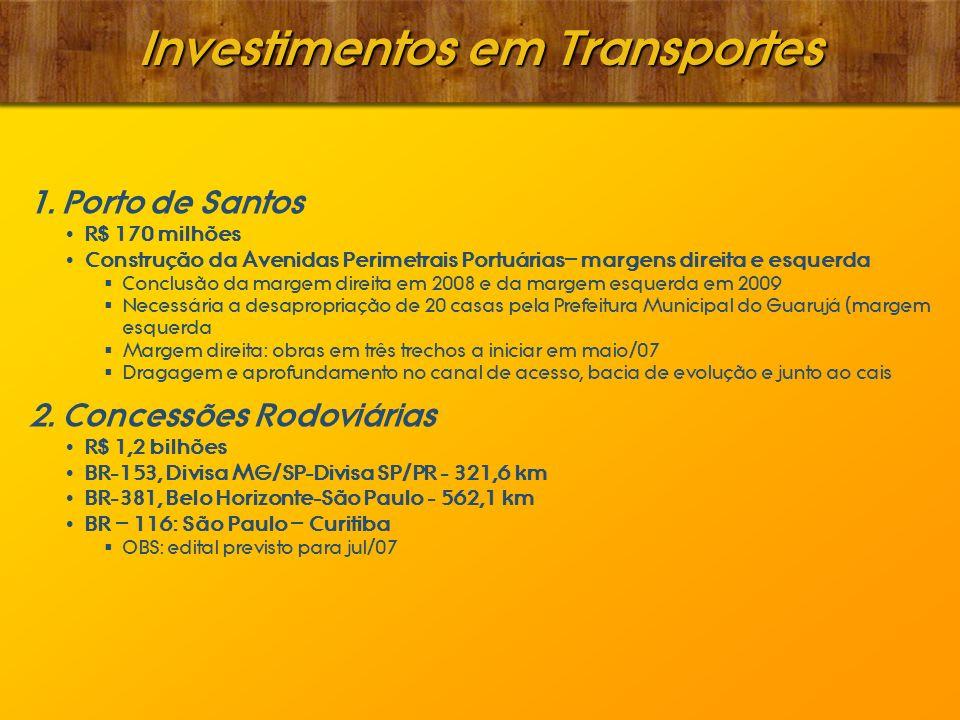 Investimentos em Transportes 1. Porto de Santos R$ 170 milhões Construção da Avenidas Perimetrais Portuárias– margens direita e esquerda Conclusão da