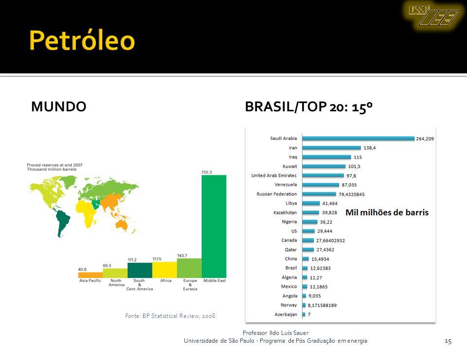 Professor Ildo Luís Sauer Universidade de São Paulo - Programa de Pós Graduação em energia 15 MUNDOBRASIL/TOP 20: 15º 15 Fonte: BP Statistical Review,