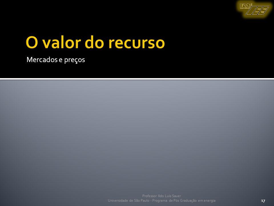 Professor Ildo Luís Sauer Universidade de São Paulo - Programa de Pós Graduação em energia 17 Mercados e preços 17 Professor Ildo Luís Sauer Universid