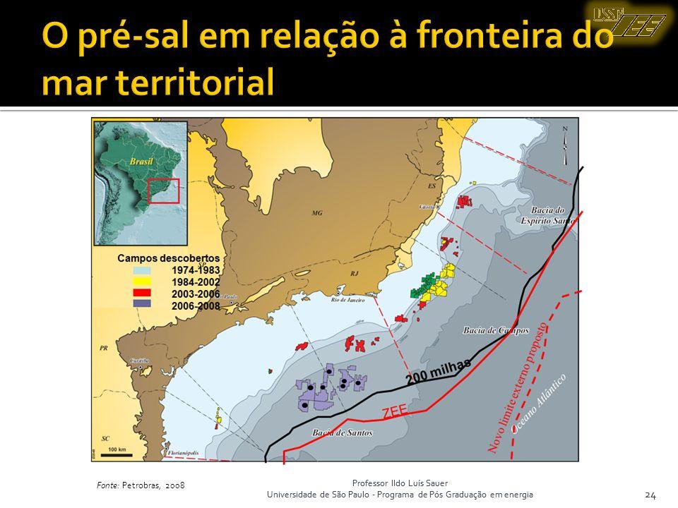 Professor Ildo Luís Sauer Universidade de São Paulo - Programa de Pós Graduação em energia 24 Fonte: Petrobras, 2008 24 Professor Ildo Luís Sauer Univ