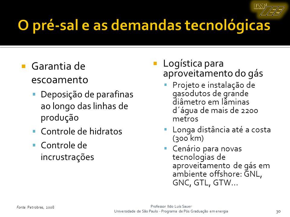 Professor Ildo Luís Sauer Universidade de São Paulo - Programa de Pós Graduação em energia 30 Garantia de escoamento Deposição de parafinas ao longo d