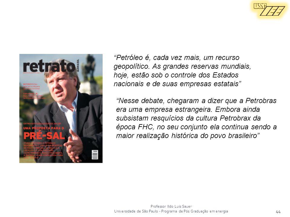 Professor Ildo Luís Sauer Universidade de São Paulo - Programa de Pós Graduação em energia 44 Petróleo é, cada vez mais, um recurso geopolítico. As gr