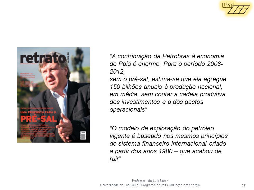 Professor Ildo Luís Sauer Universidade de São Paulo - Programa de Pós Graduação em energia 45 O modelo de exploração do petróleo vigente é baseado nos