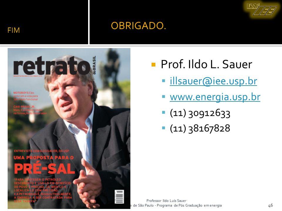 Professor Ildo Luís Sauer Universidade de São Paulo - Programa de Pós Graduação em energia 46 FIM Prof. Ildo L. Sauer illsauer@iee.usp.br www.energia.