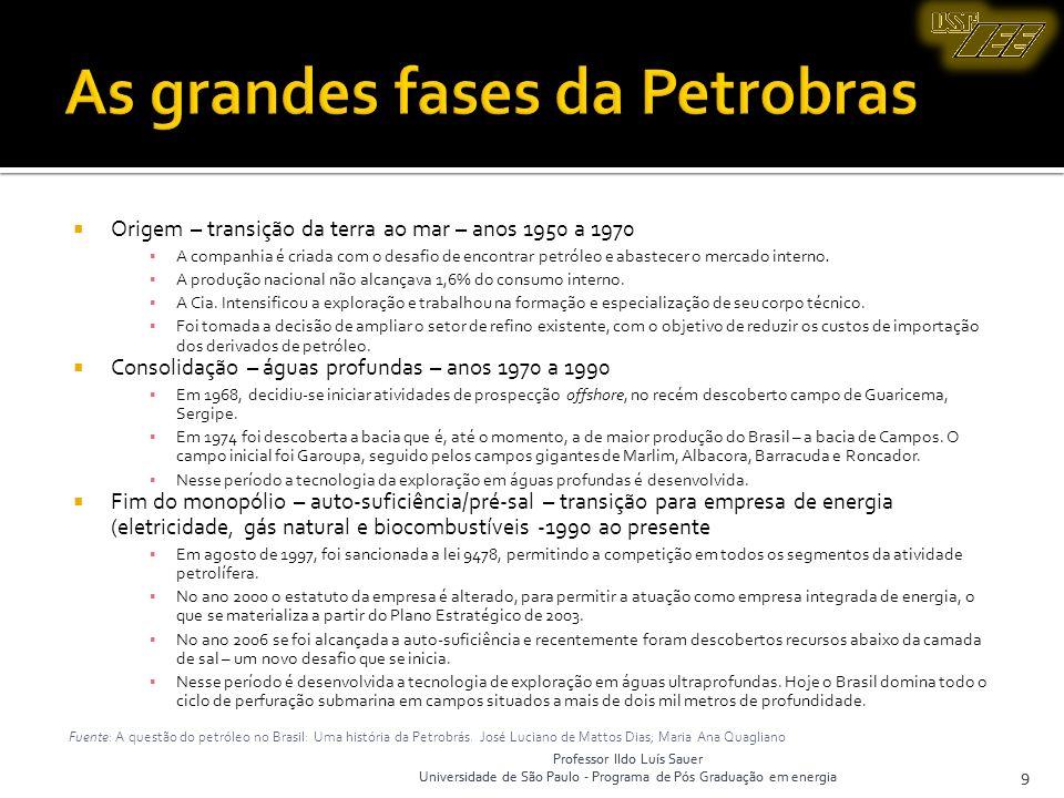 Professor Ildo Luís Sauer Universidade de São Paulo - Programa de Pós Graduação em energia 10 Professor Ildo Luís Sauer Universidade de São Paulo - Programa de Pós Graduação em energia 10 Fuente: Petrobras, 2007.
